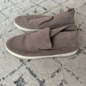 Womens taupe suede flats/sneakers/loafers/sneakers